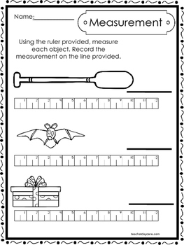 10 Printable Measuring With A Ruler Worksheets. Kindergarten-1st Grade Math.