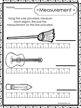 10 Printable Measuring With A Ruler Worksheets Kindergarten 1st
