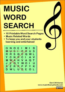 10 Printable Music WORD SEARCH Handouts