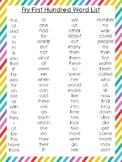10 Printable Rainbow Border Fry Sight Word Wall Chart Posters.