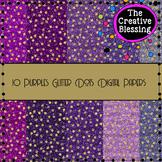 10 Purples Glitter Paper