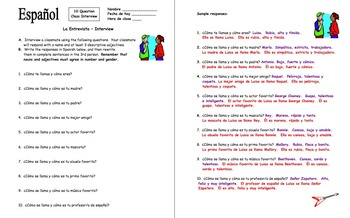 Spanish Adjectives Interview and Substitute Activity - 10 Questions