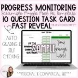 10 Question Fast Reveal Progress Monitoring Task Card Scra