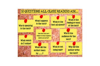 10 Questions Close Readers Ask Anchor Chart