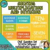 10 Questions over Multiplication & Division -Multiple Form