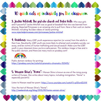 Free #kindnessnation #weholdthesetruths 10 Acts of Inclusivity for the Classroom