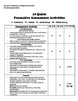 10 Quick Formative Assessment Activities