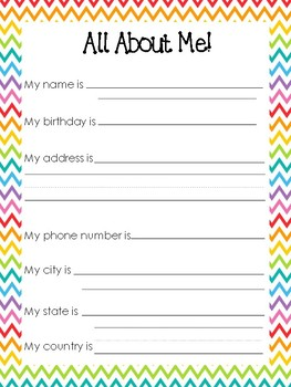 image relating to All About Me Printable Preschool named 10 Rainbow Bordered All Concerning Me Worksheets. Daycare Reputation Sport. Preschool-3r
