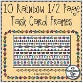 10 Multicolor Half-Page Task Card Frames - Color and Line Art