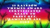 10 Rainbow themed Award Certificates
