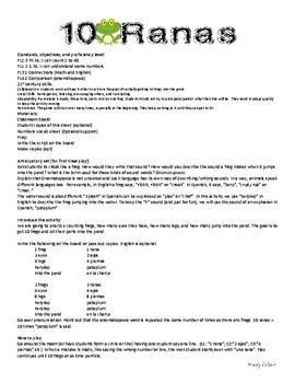 10 Ranas Spanish Speaking activity - numbers 1-40, body parts, onomatopoeia