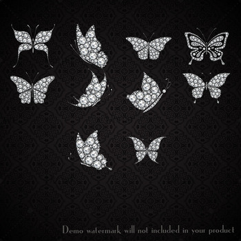 10 Real Diamond Butterfly Clip Arts