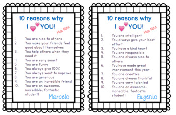 10 Reasons Why I Love You - Student Notes