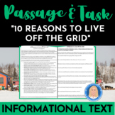 10 Reasons to Live Off-Grid: Informational Text Passage &