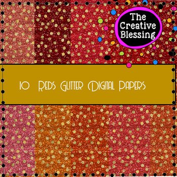 10 Red Glitter Digital Papers