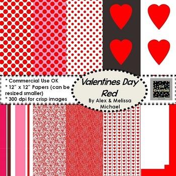 10 Red Valentine Papers ~  300 DPI ~ 12x12 CU/PU
