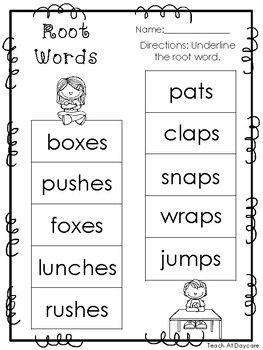 10 Root Words Printable Worksheets in PDF file. KDG-2nd ...