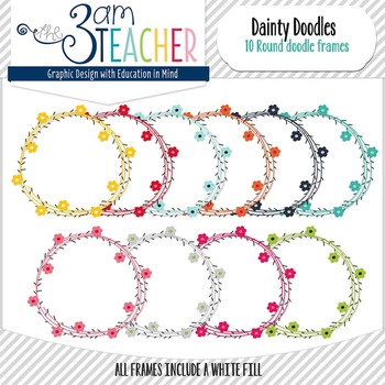 10 Round Dainty Doodle Frames