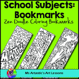 School Subjects Coloring Bookmarks, Zen Doodles.