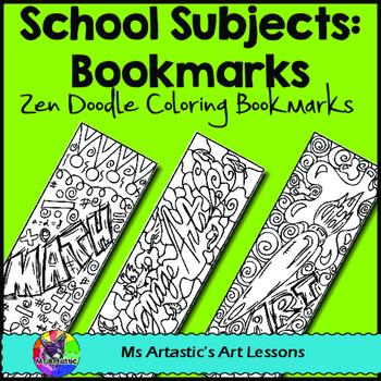 School Subjects Coloring Bookmarks, Zen Doodles.