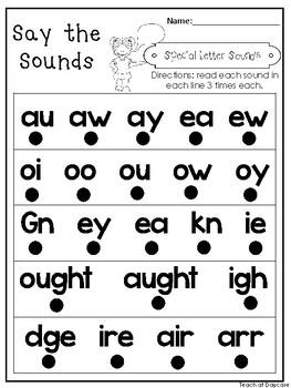 10 Say the Sounds Printable Worksheets. Preschool-3rd Grade Phonics.