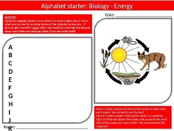 10 Science Biology Alphabet Analyser #2 Starter Activities Keyword