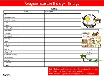 10 Science Biology Anagrams Puzzle #2 Starter Activities Keyword