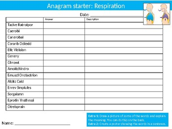 10 Science Biology Anagrams Puzzle Starter Activities Keyword