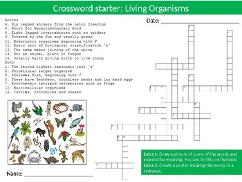 10 Science Biology Crossword Puzzle Starter Activities Keyword