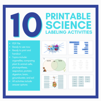 10 Science/Biology Labeling Activities - PDF File
