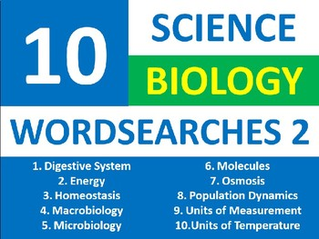 10 Science Biology Wordsearch Puzzle #2 Starter Activities Keyword