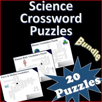 10 Science Vocabulary Crossword Puzzle Bundle - Activity Grades 5-7