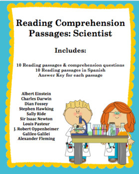 10 Non-Fiction Scientist Reading Comprehension Passages (In Spanish Too)