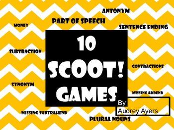 10 Scoot Games--Addition, Subtraction, Grammar, Money, Con