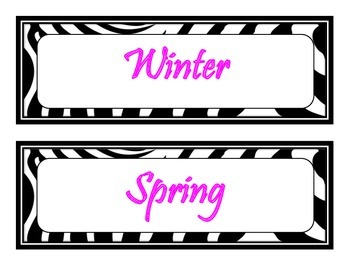 10 Seasons Bulletin Board Signs (Zebra and Hot Pink Themed)