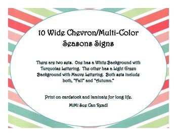 10 Seasons Bulletin Board Signs (Wide Chevron Multi-Color)