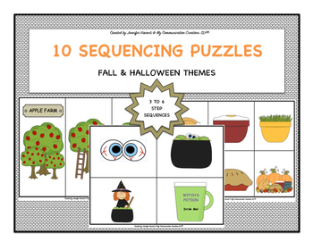 10 Sequencing Activities {Fall & Halloween} 3 to 6 Steps