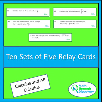 Calculus:  10 Sets of 5 Relay Cards for Calculus
