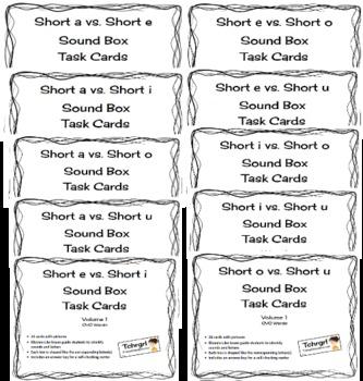 10 Sets of CVC Elkonin Sound Box Phonics Task Cards-All Short Vowels Compared