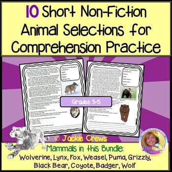 10 Non-Fiction Animal Selections for Comprehension Practice:Common Core-Aligned