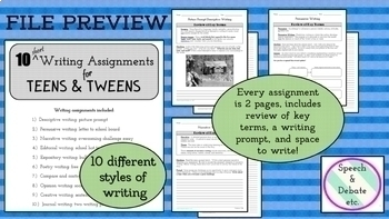 10 Short Writing Assignments for Teens and Tweens