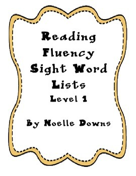 10 Sight Words Lists Level 1