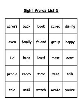 10 Sight Words Lists Level 2