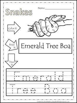 10 Snake themed printable preschool worksheets. Color, Read, Trace