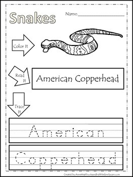 10 Snake themed printable preschool worksheets. Color, Rea
