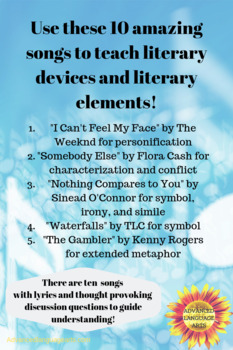 10 Songs to teach literary elements and literary devices!