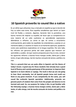 10 Spanish proverbs to sound like a native