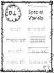 10 Special Vowels Tracing Worksheets. KDG-1st Grade ELA an