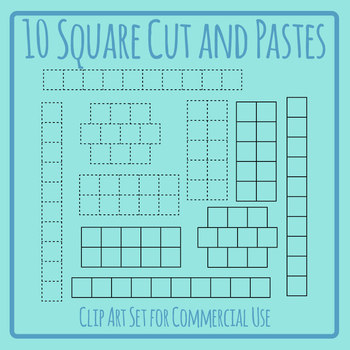 10 Square Spaces for Cutting and Pasting Clip Art Set Commercial Use