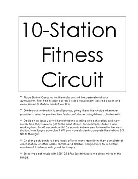 10 Station Fitness Circuit Poster Cards